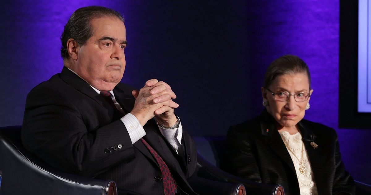 The late Justices Antonin Scalia, left, and Ruth Bader Ginsburbg in a 2014 file photo.