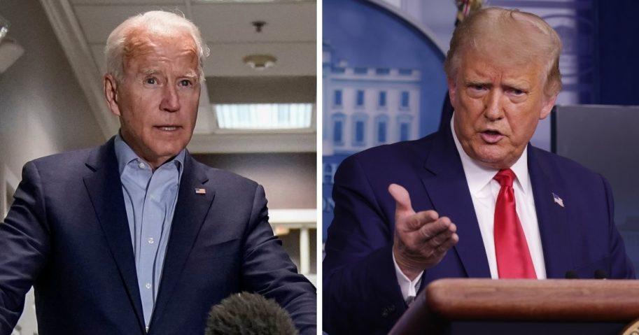 Democratic presidential nominee Joe Biden, left; and President Donald Trump, right.