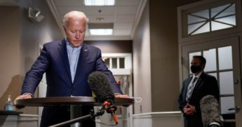 Former Vice President Joe Biden speaks to reporters Friday about the death of Supreme Court Justice Ruth Bader Ginsburg. Biden's meetings with reporters have been limited in September, with the campaign calling it a day before noon nine times so far this month.