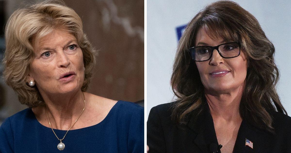 Alaska Sen. Lisa Murkowski, left; and former Alaska Gov. Sarah Palin, right.