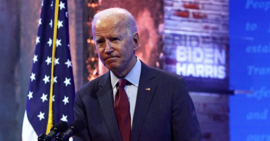 Democratic presidential nominee Joe Biden speaks for a campaign event on Sunday in Wilmington, Delaware.