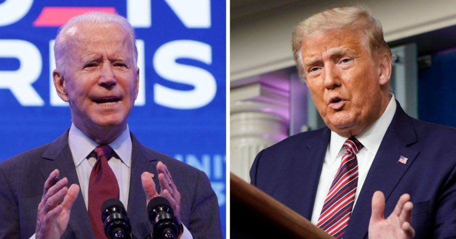 Former Vice President Joe Biden, left; and President Donald Trump, right.