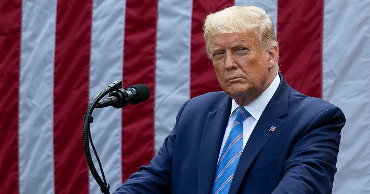 President Donald Trump delivers an update on coronavirus testing Monday during a White House briefing.