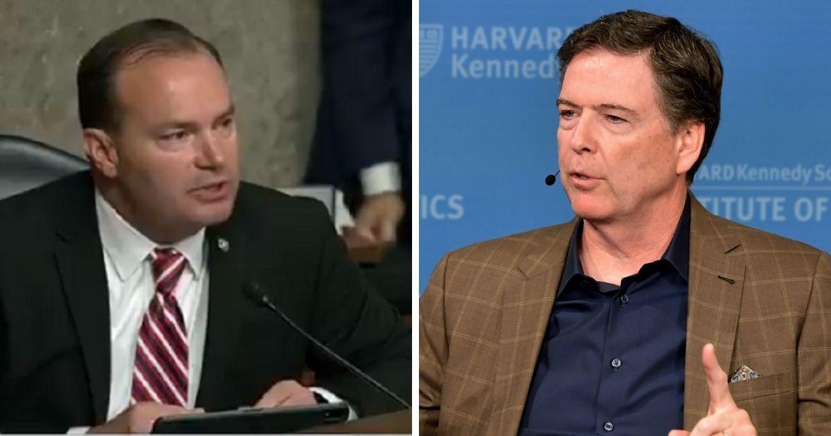 Utah Sen. Mike Lee, left; former FBI Director James Comey, right.