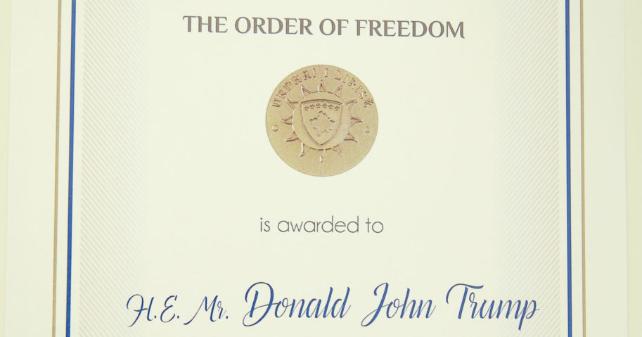 A photo of the Order of Freedom awarded to President Donald Trump, undersigned by Kosovo President Hashim Thaci, is seen above in Pristina, Kosovo, on Sept. 18, 2020.