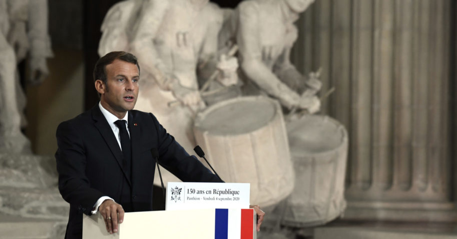 French President Emmanuel Macron speaks during a ceremony to celebrate the 150th anniversary of the proclamation of the Republic at the Pantheon monument on Sept.4. 2020, in Paris.