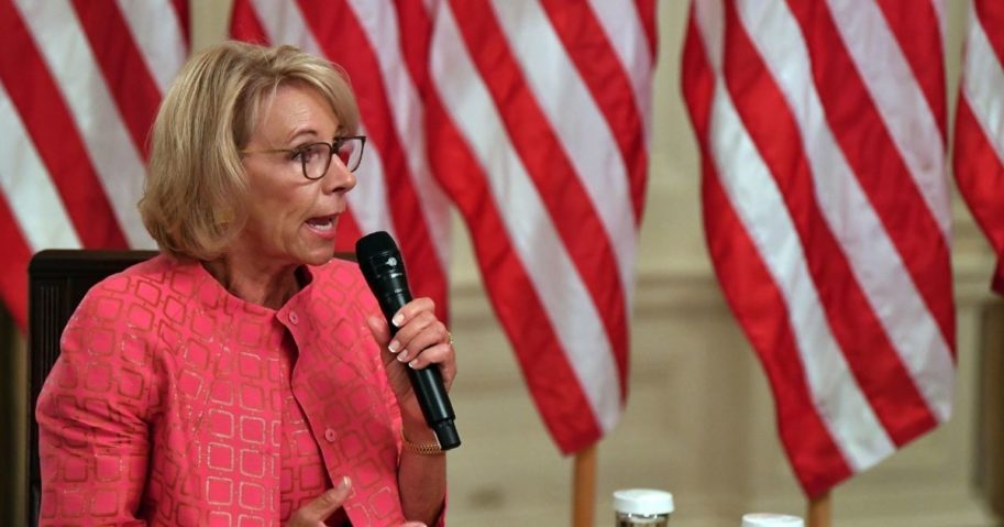 Secretary of Education Betsy DeVos speaks in the White House in Washington, D.C., on Aug. 12, 2020.