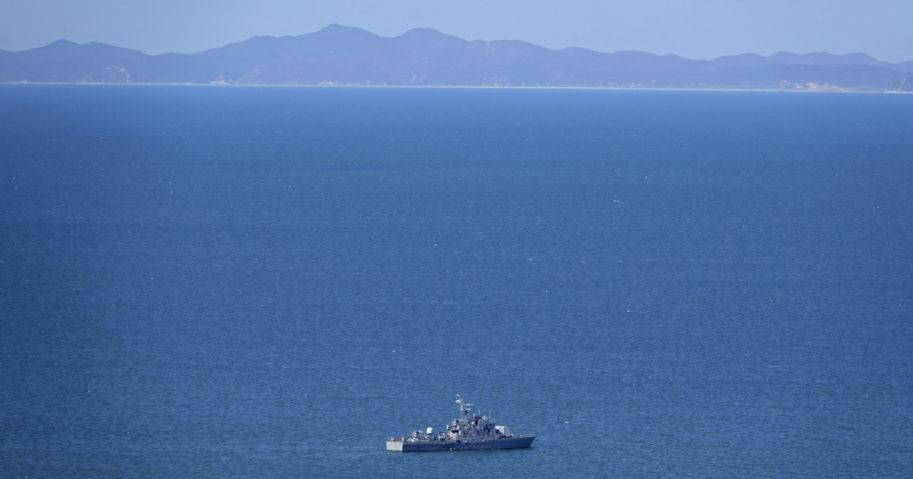 A South Korean ship is seen near Yeonpyeong island, South Korea, on Sept. 25, 2020.