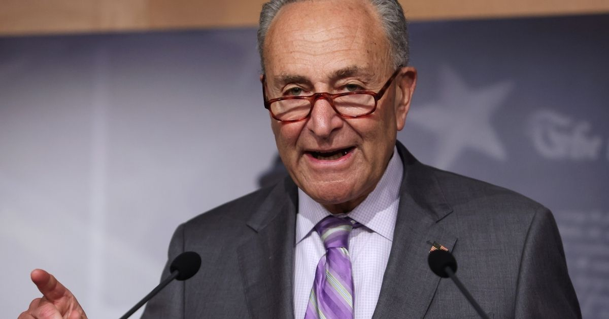 Senate Minority Leader Chuck Schumer speaks during a news conference at the US Capitol on Sept. 9, 2020, in Washington, D.C.