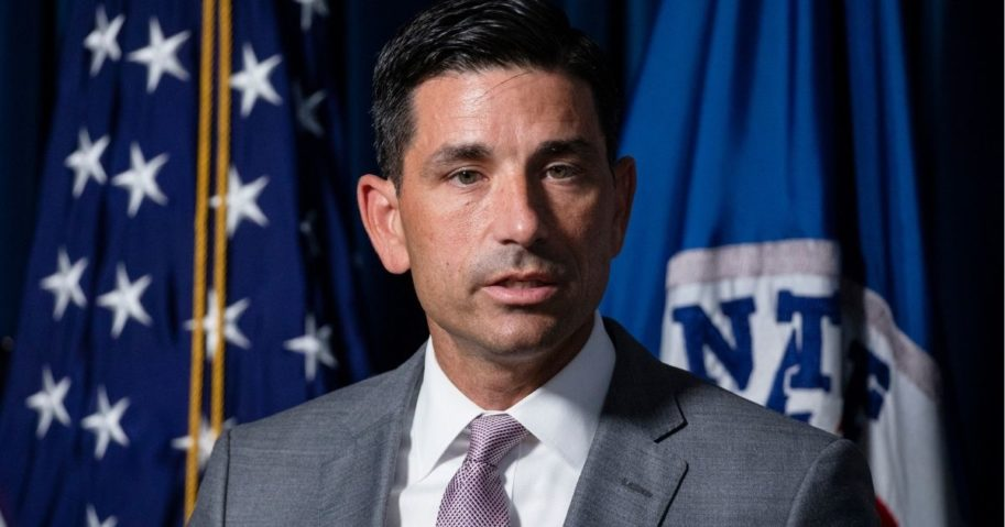 Secretary of Homeland Security Chad Wolf speaks during a news conference at the Customs and Border Patrol headquarters on July 21, 2020, in Washington, D.C.