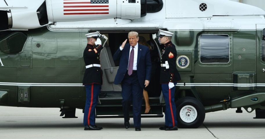 President Donald Trump prepares to board Air Force One on Sept. 11, 2020, in Johnstown, Pennsylvania.