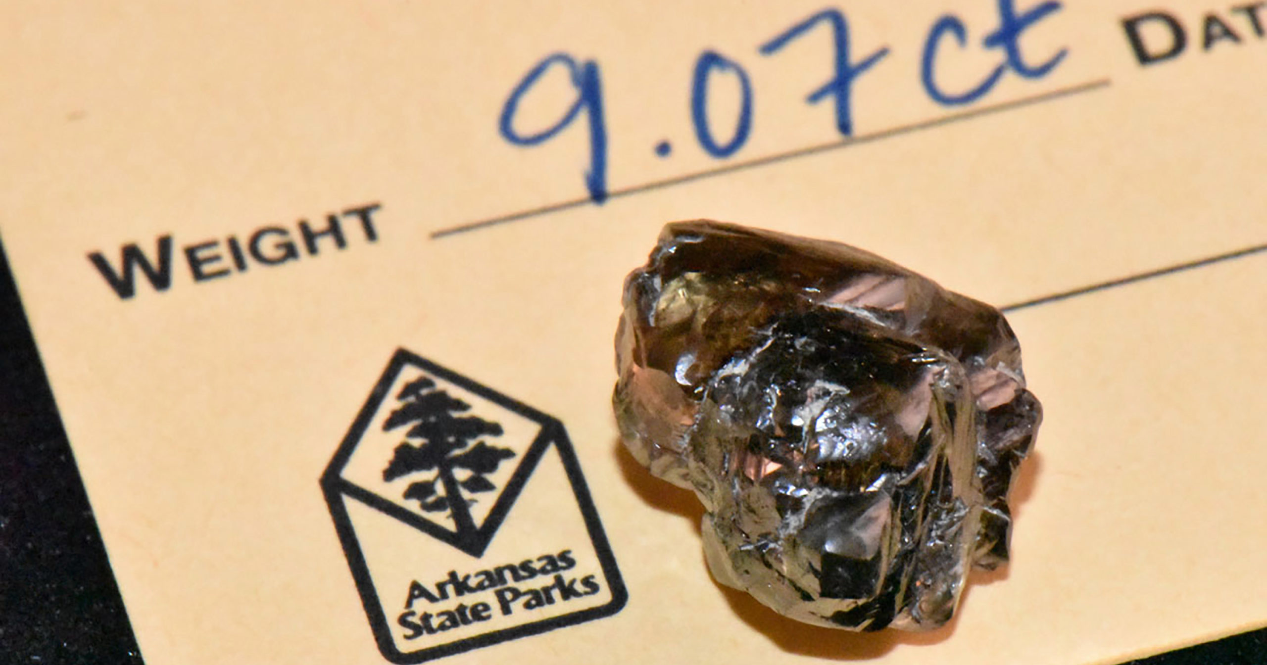 In this Sept. 23, 2020, photo provided by the Arkansas Department of Parks, Heritage and Tourism is a 9.07-carat diamond found by Kevin Kinard at Crater of Diamonds State Park on Sept, 7, 2020, in Murfreesboro, Arkansas.