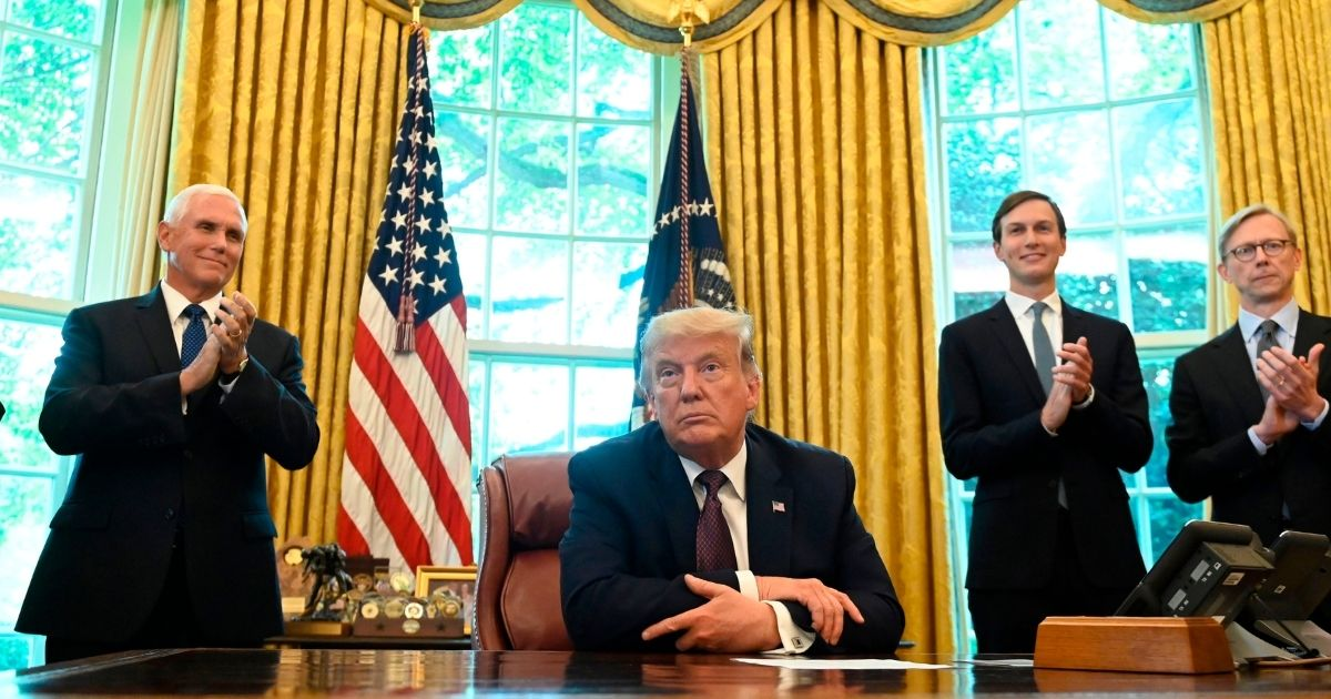 President Donald Trump speaks in the Oval Office of the White House in Washington, D.C., on Sept. 11, 2020. Trump announced a peace deal between Israel and Bahrain.