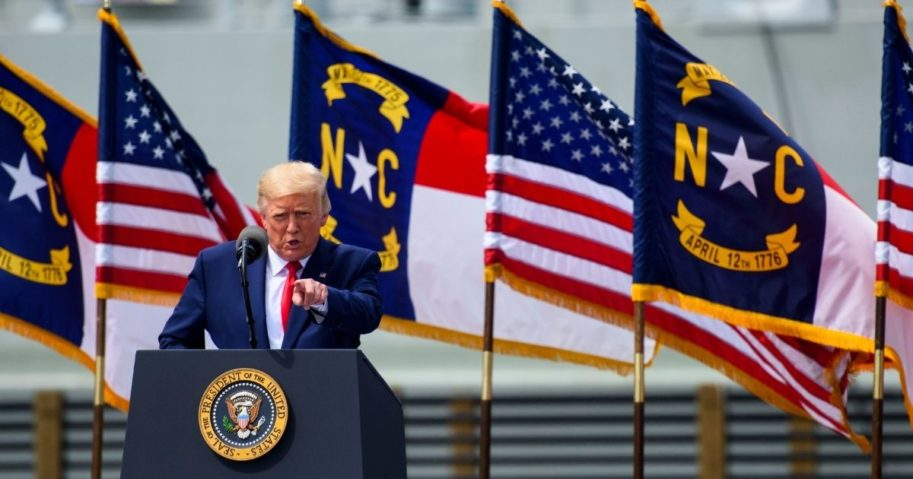 President Donald Trump speaks outside the USS North Carolina on Sep. 2, 2020, in Wilmington, North Carolina. President Donald Trump visited the port city for a brief ceremony designating Wilmington as the nation's first WWII Heritage City.