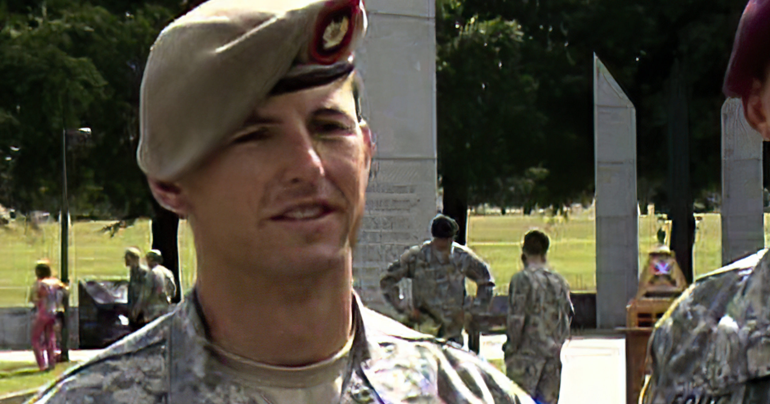 In this image from video provided by the US Army, then-Sgt. 1st Class Thomas Payne is interviewed as a winner of the 2012 Best Ranger competition at Fort Benning, Georgia, on April 16, 2012. Payne will receive the Medal of Honor, the US military's highest honor for valor in combat, for rescuing about 70 hostages who were set to be executed by ISIS militants in Iraq in 2015. Sgt. Maj. Payne will receive the honor in a White House ceremony on the 19th anniversary of the Sept. 11, 2001, terrorist attacks.
