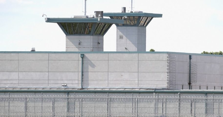 Guard towers rise above the grounds of the Federal Correctional Complex on July 25, 2019, in Terre Haute, Indiana.
