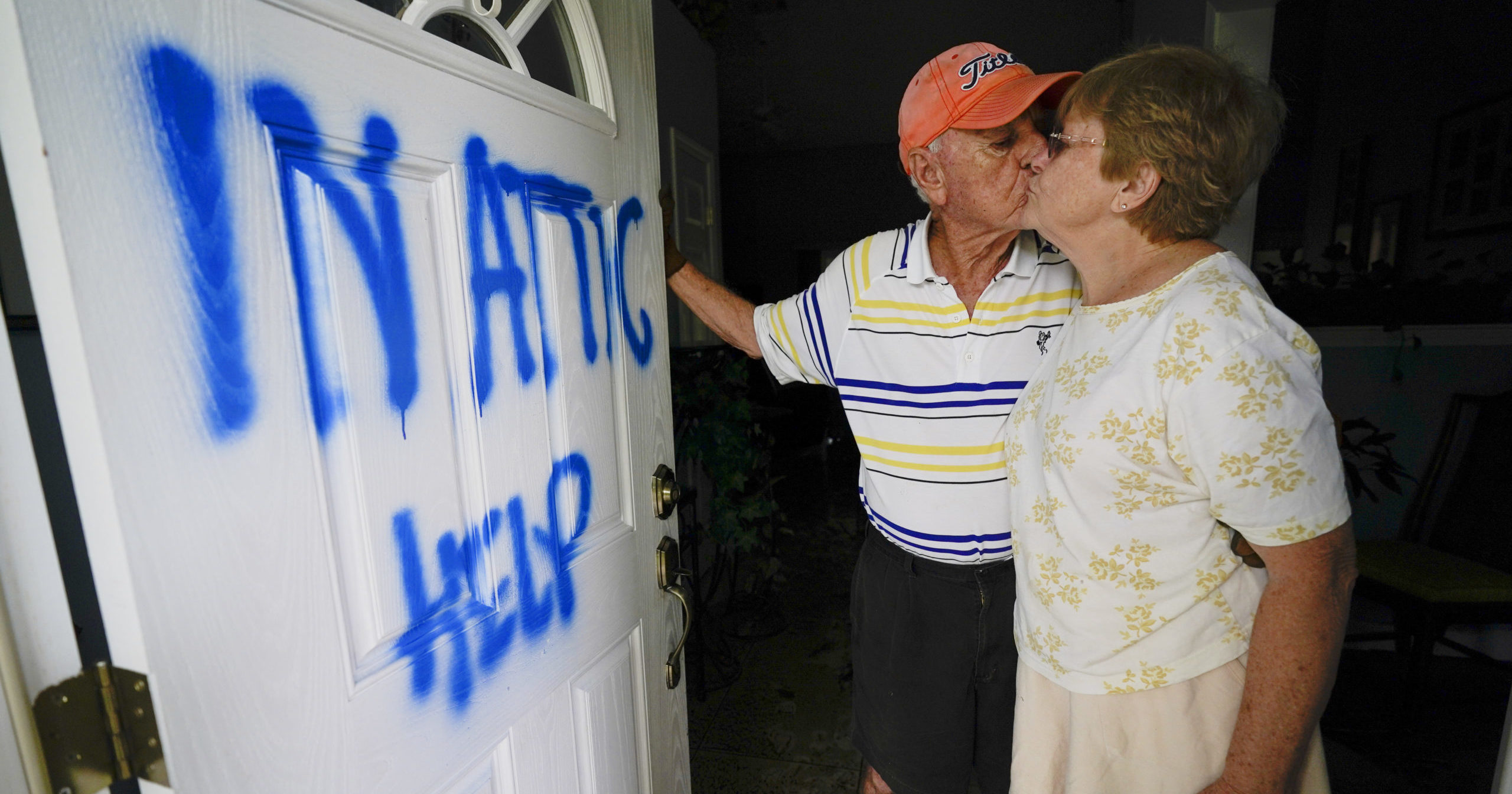 Jack and Elaine Hulgan were rescued after being trapped in their Pensacola, Florida, home by flooding during Hurricane Sally on Sept. 16, 2020.