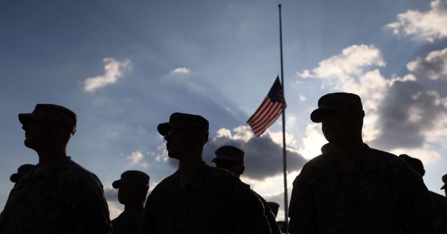 US Army soldiers stand together on Nov. 10, 2009, in Fort Hood, Texas.
