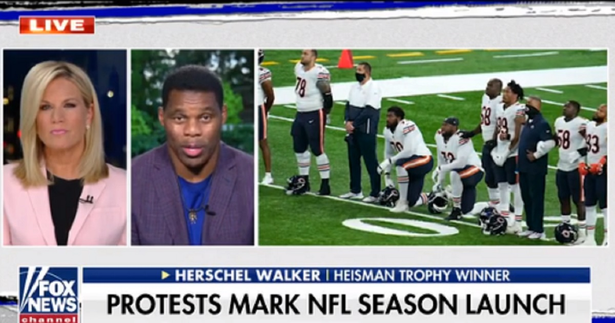 Former NFL running back Herschel Walker is interviewed Tuesday by Fox News' Martha MacCallum next to a picture of NFL players kneeling to protest racism.