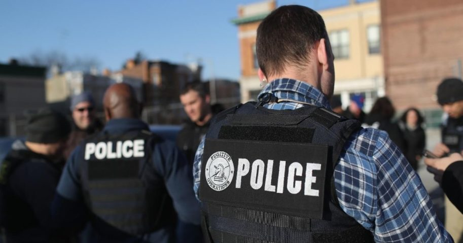 Immigration and Customs Enforcement officers gather for a debriefing after operations to arrest undocumented immigrants on April 11, 2018, in the Brooklyn borough of New York City.