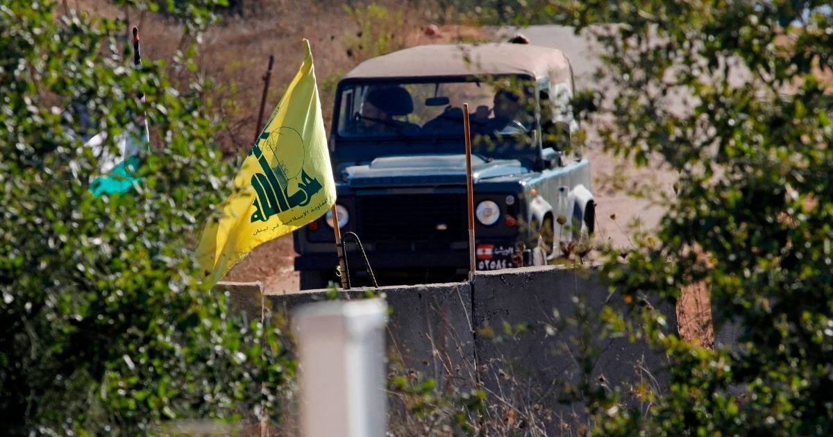 A picture taken from northern Israeli on Aug. 26, 2020, shows a Lebanese military jeep patrolling along the border in the southern Lebanese village of Houla.