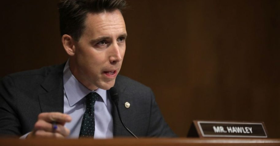 Sen. Josh Hawley questions witnesses during a hearing on anti-competitive practices in Google's online advertising on Capitol Hill on Sept. 15, 2020, in Washington, D.C.