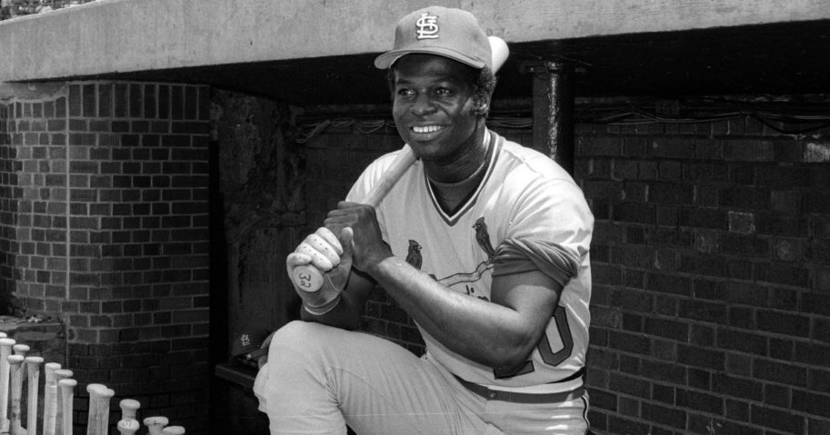 Lou Brock of the St. Louis Cardinals poses before a MLB game at Wrigley Field in Chicago, Illinois, in 1978.