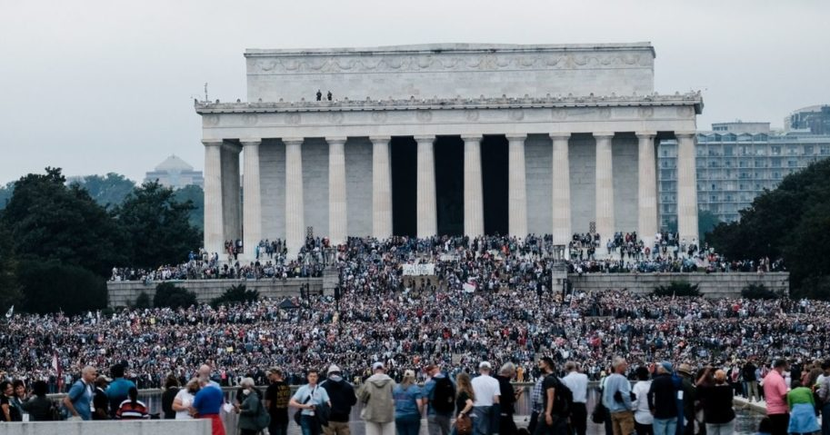 People gather at the National Mall for the Washington Prayer March led by evangelist Franklin Graham on Sept. 26, 2020, in Washington, D.C.