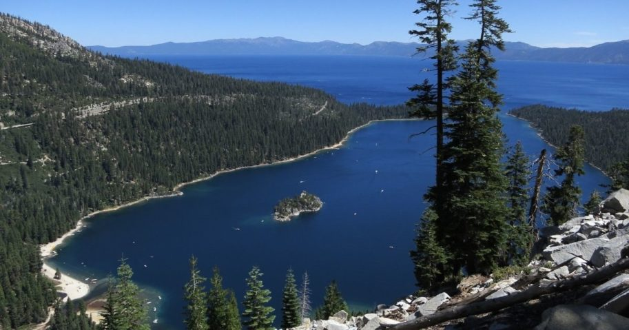 Emerald Bay lies under blue skies at Lake Tahoe on July 23, 2014, near South Lake Tahoe, California.