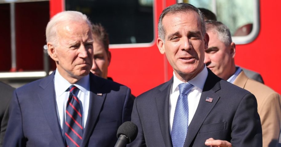 Democratic presidential candidate Joe Biden looks on as Los Angeles Mayor Eric Garcetti speaks at a campaign event at United Firefighters of Los Angeles City on Jan. 10, 2020, in Los Angeles.