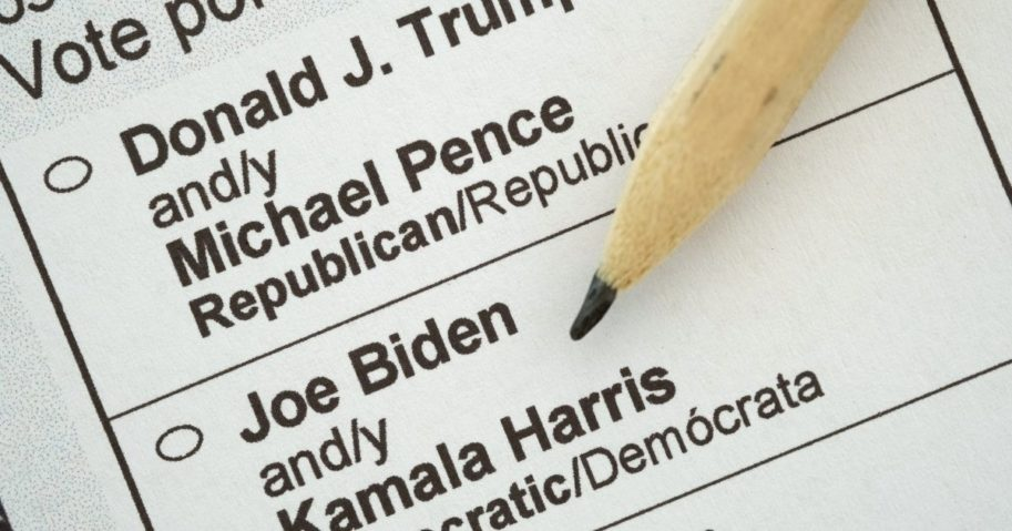 A presidential election mail-in ballot shows President Donald Trump and his contender, Democratic nominee Joe Biden, on Sept. 21, 2020.