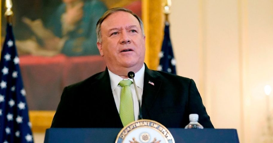 Secretary of State Mike Pompeo speaks during a news conference to announce the Trump administration's restoration of sanctions on Iran on Sept. 21, 2020, at the State Department in Washington, D.C.