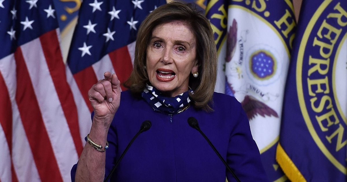 Speaker of the House Nancy Pelosi speaks to reporters during her weekly news conference at the US Capitol on Aug. 27, 2020, in Washington, D.C.