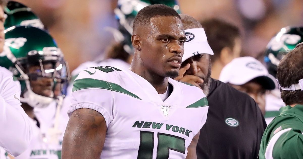 Josh Bellamy of the New York Jets looks on from the sideline during a preseason game against the New York Giants at MetLife Stadium on Aug 8, 2019, in East Rutherford, New Jersey.