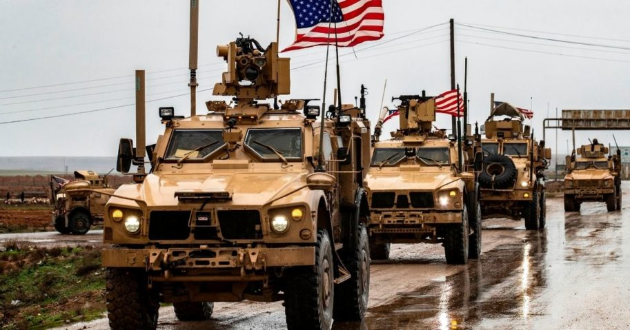 American soldiers patrol in the town of Tal Tamr in the northeastern Syrian Hasakeh province on the border with Turkey on Jan. 24, 2020.
