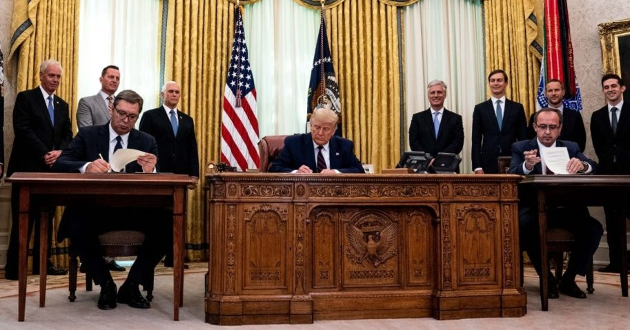 President Donald Trump participates in a signing ceremony and meeting with the President of Serbia Aleksandar Vucic, left, and the Prime Minister of Kosovo Avdullah Hoti, right, in the Oval Office of the White House on Sep. 4, 2020, in Washington, D.C.