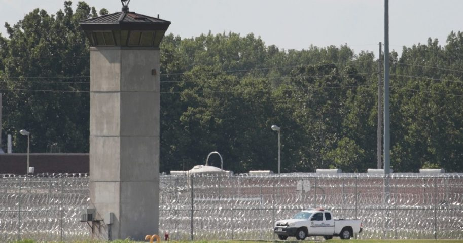 A truck patrols the grounds of the Federal Correctional Complex Terre Haute on July 25, 2019, in Terre Haute, Indiana.
