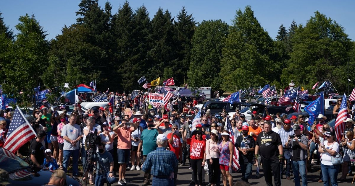 President Donald Trump supporters hold a rally and caravan in Oregon City, Oregon, on Sep. 7, 2020.