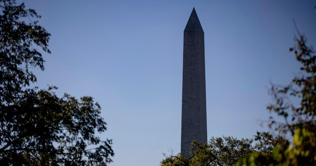 The Washington Monument is seen on Aug. 30, 2020, in Washington, D.C.