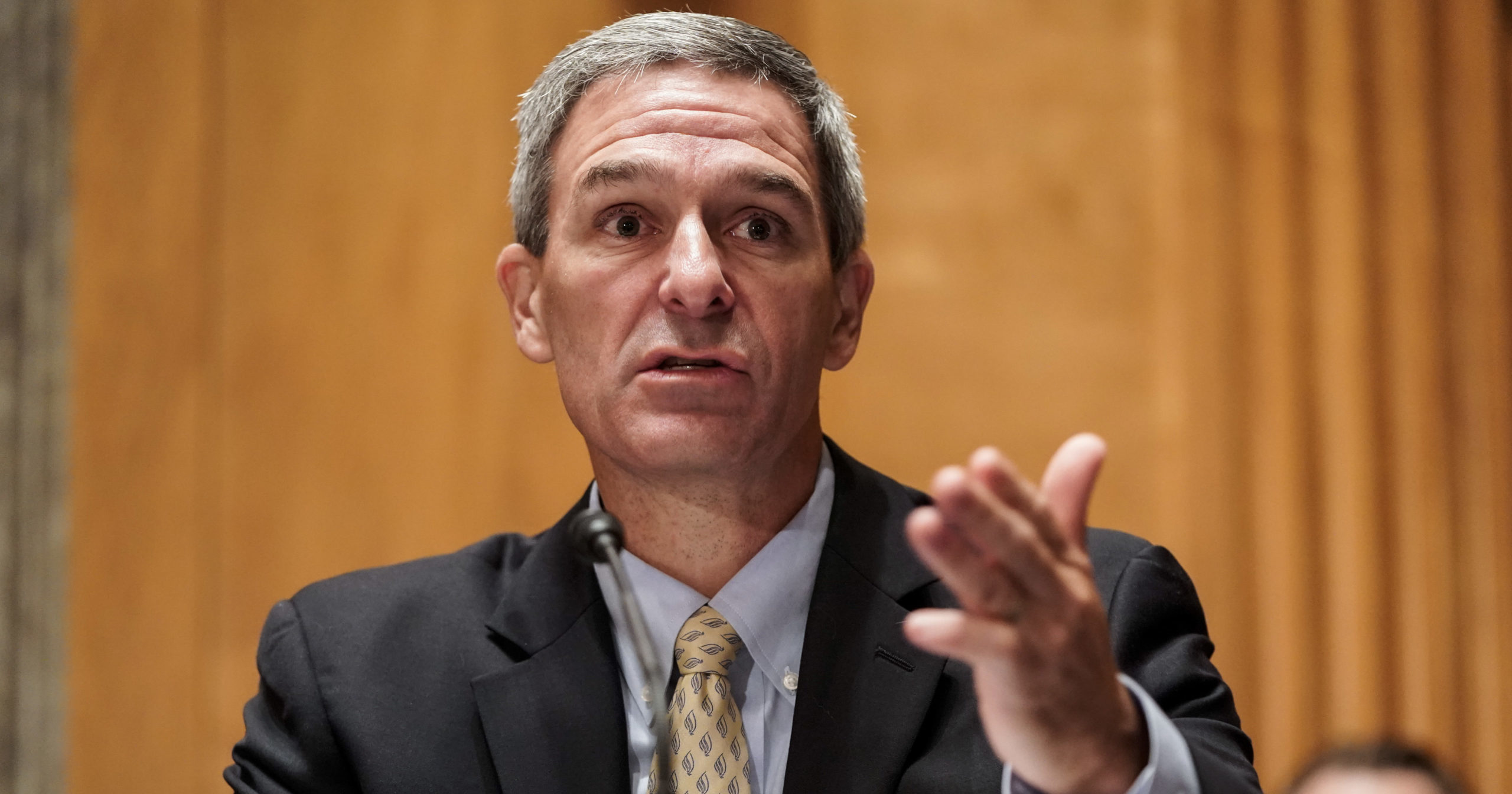 Department of Homeland Security Acting Deputy Secretary Ken Cuccinelli testifies during a Senate Homeland Security and Governmental Affairs Committee hearing on Sept. 24, 2020, on Capitol Hill in Washington, D.C.