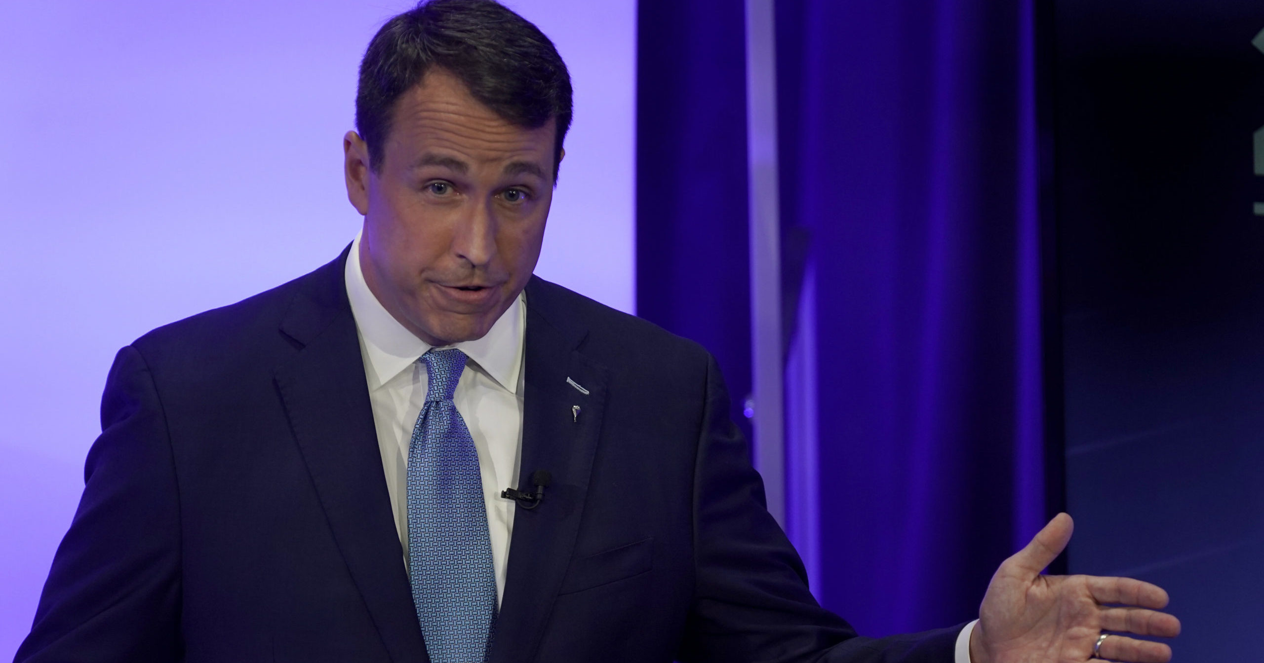 Democratic challenger Cal Cunningham speaks during a televised debate with U.S. Sen. Thom Tillis on Oct. 1, 2020, in Raleigh, North Carolina. Cunningham has admitted to sending sexual text messages to a strategist who is not his wife. Cunningham apologized but said he would not drop out of the race.