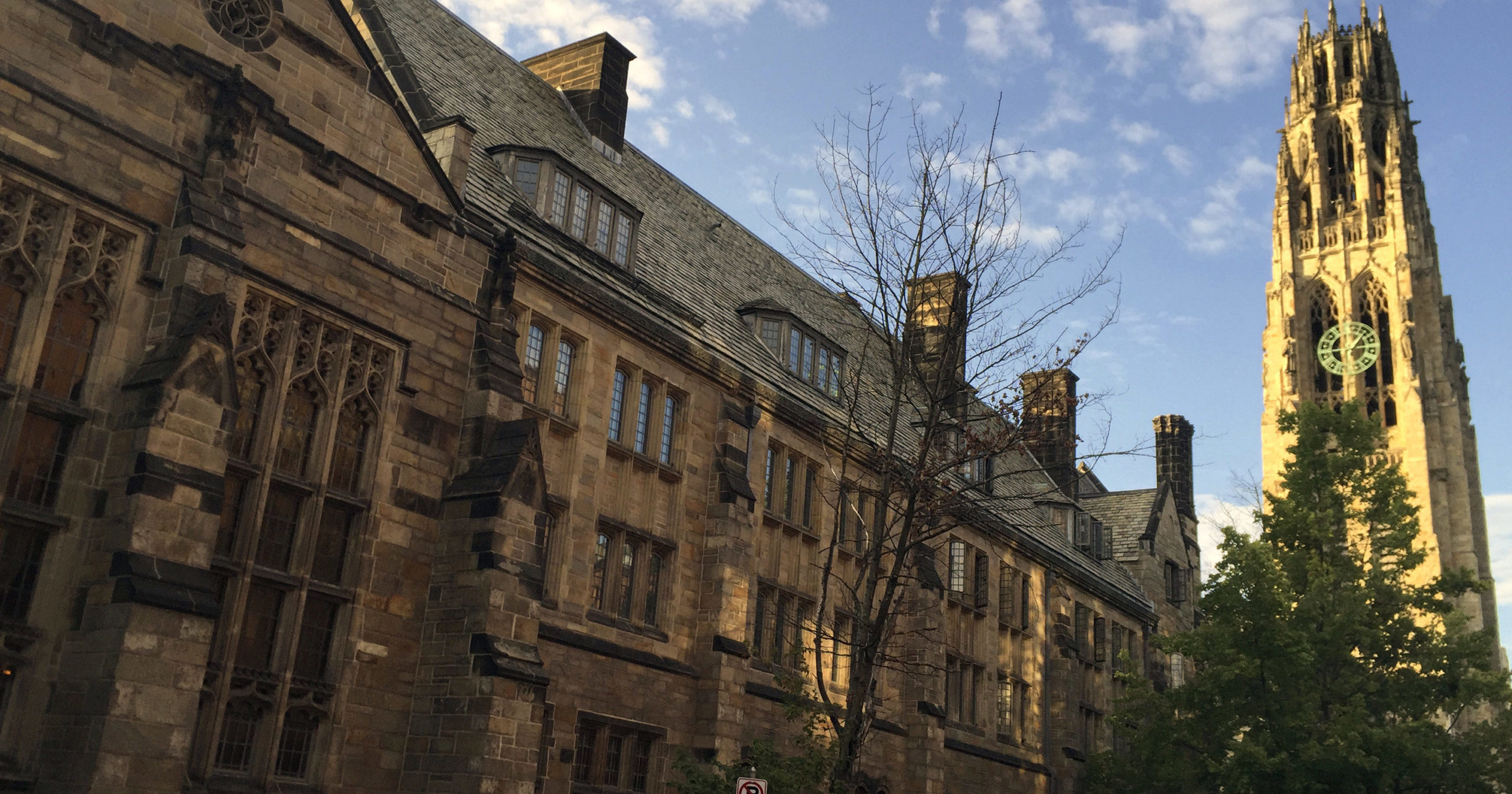 This Sept. 9, 2016, photo shows Harkness Tower on the campus of Yale University in New Haven, Conn. A Justice Department investigation has found Yale University is illegally discriminating against Asian-American and white applications, in violation of federal civil rights law, officials said Thursday.