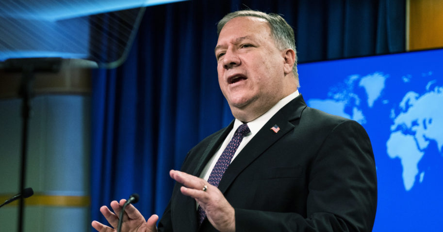 Secretary of State Mike Pompeo speaks during a news conference at the State Department on Oct. 14, 2020, in Washington, D.C.