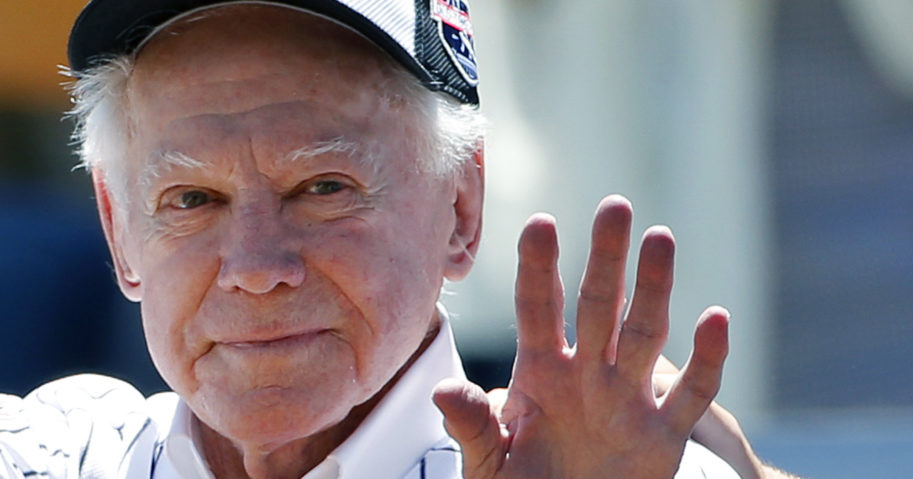 In this June 12, 2016, file photo, former New York Yankees pitcher Whitey Ford waves to fans from outside the dugout at the Yankees' annual Old Timers Day baseball game in New York. Ford died at his Long Island home on Oct. 8, 2020.