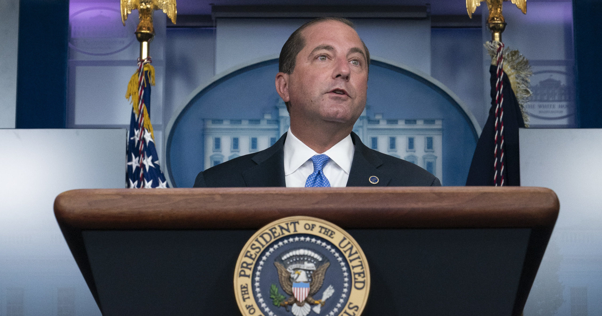 In this Aug. 23, 2020, file photo, Health and Human Services Secretary Alex Azar speaks in the White House in Washington, D.C.