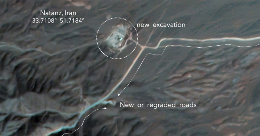 A satellite image Monday from Planet Labs Inc., annotated by experts at the James Martin Center for Nonproliferation Studies at Middlebury Institute of International Studies, shows construction at Iran's Natanz uranium-enrichment facility that experts believe may be a new, underground centrifuge assembly plant.