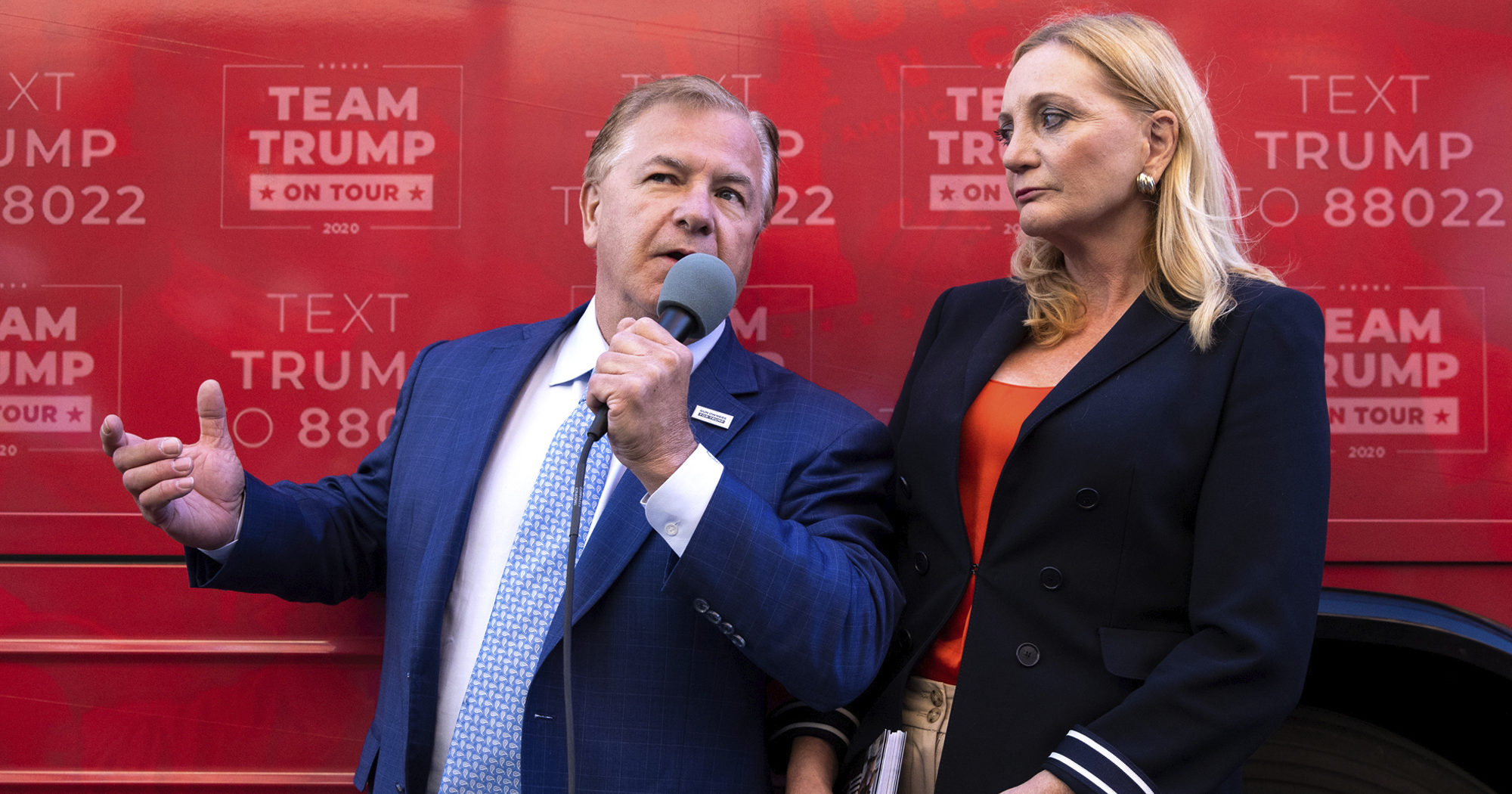 St. Louis-based lawyers Mark and Patricia McCloskey speak outside the Republican campaign office in downtown Scranton, Pennsylvania, during a Trump campaign event on Sept. 30, 2020.