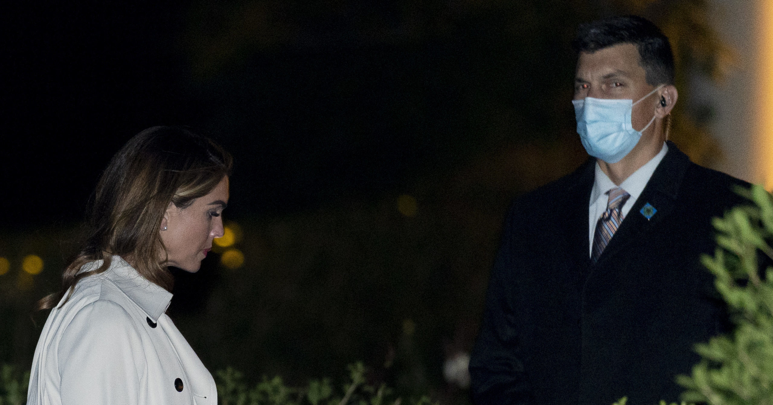 Counselor to the President Hope Hicks, left, arrives at the White House in Washington, late Monday, Sept. 21, 2020, after attending rallies in Ohio with President Donald Trump.