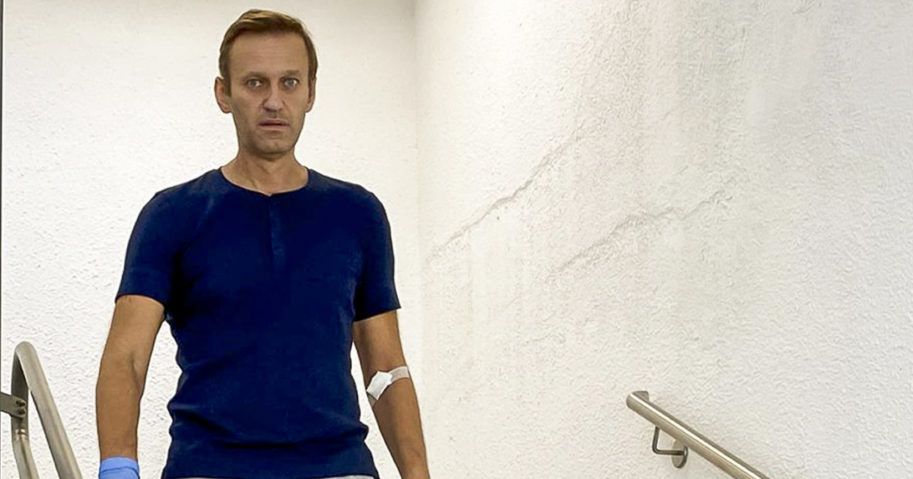 In this photo taken from a video published by Russian opposition leader Alexei Navalny on Instagram, Navalny walks down stairs in a hospital in Berlin on Sept. 19, 2020.