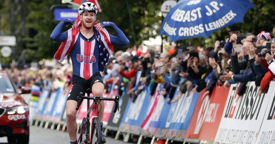 In this Sept. 26, 2019, file photo, the United States' Quinn Simmons celebrates winning the men's junior even, at the road cycling World Championships in Harrogate, England.